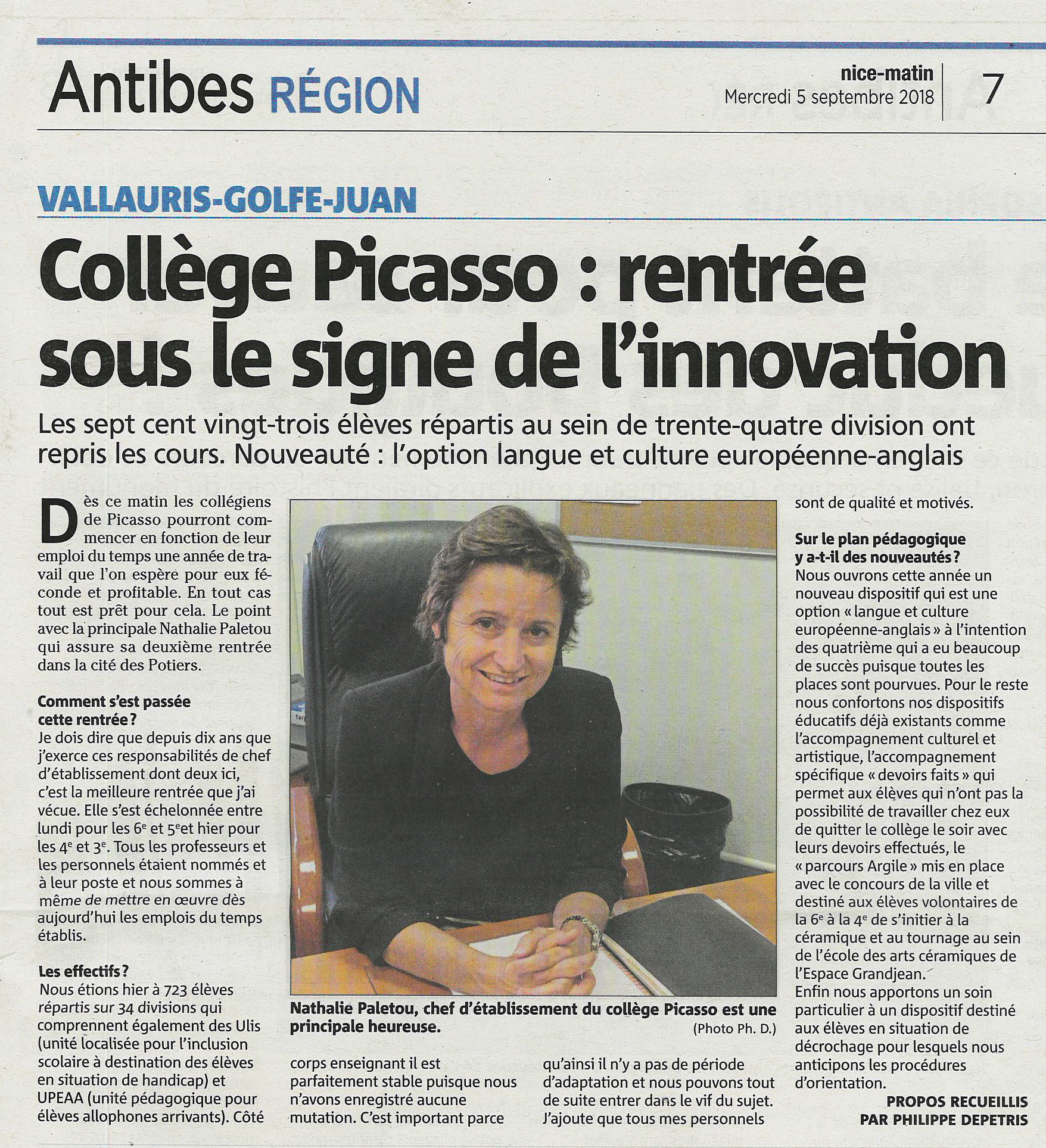 Article Nice Matin 5 Septembre 2018 interview Madame Paletou